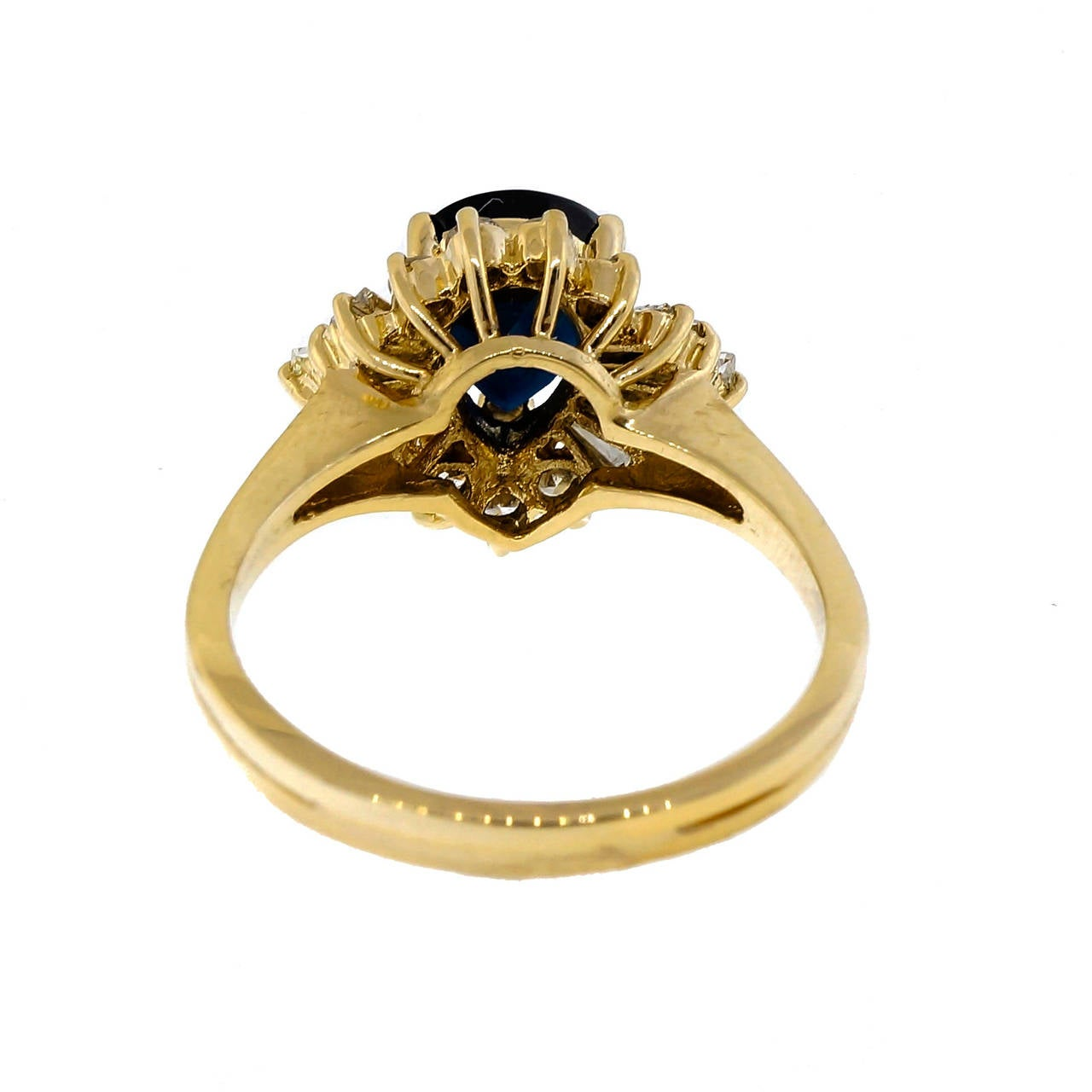 Sapphire Round Baguette Diamond Yellow Gold Ring 4