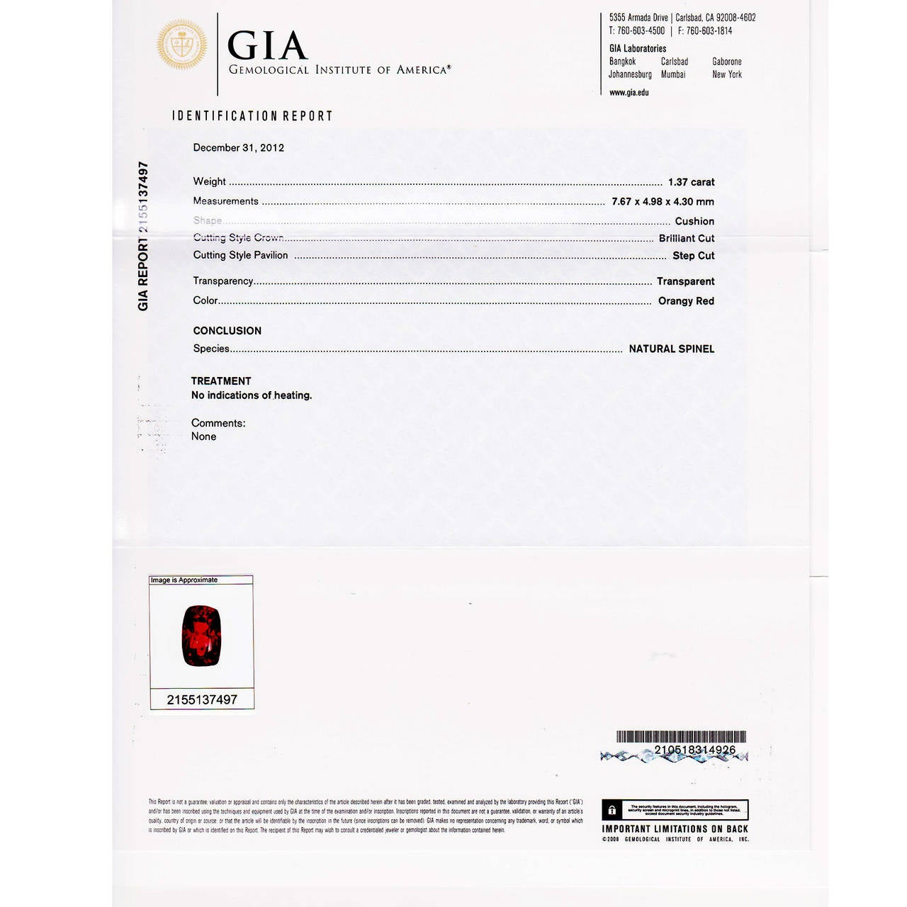 1.37 Carat GIA Cert Red Spinel Diamond Platinum Three Stone Engagement Ring 6