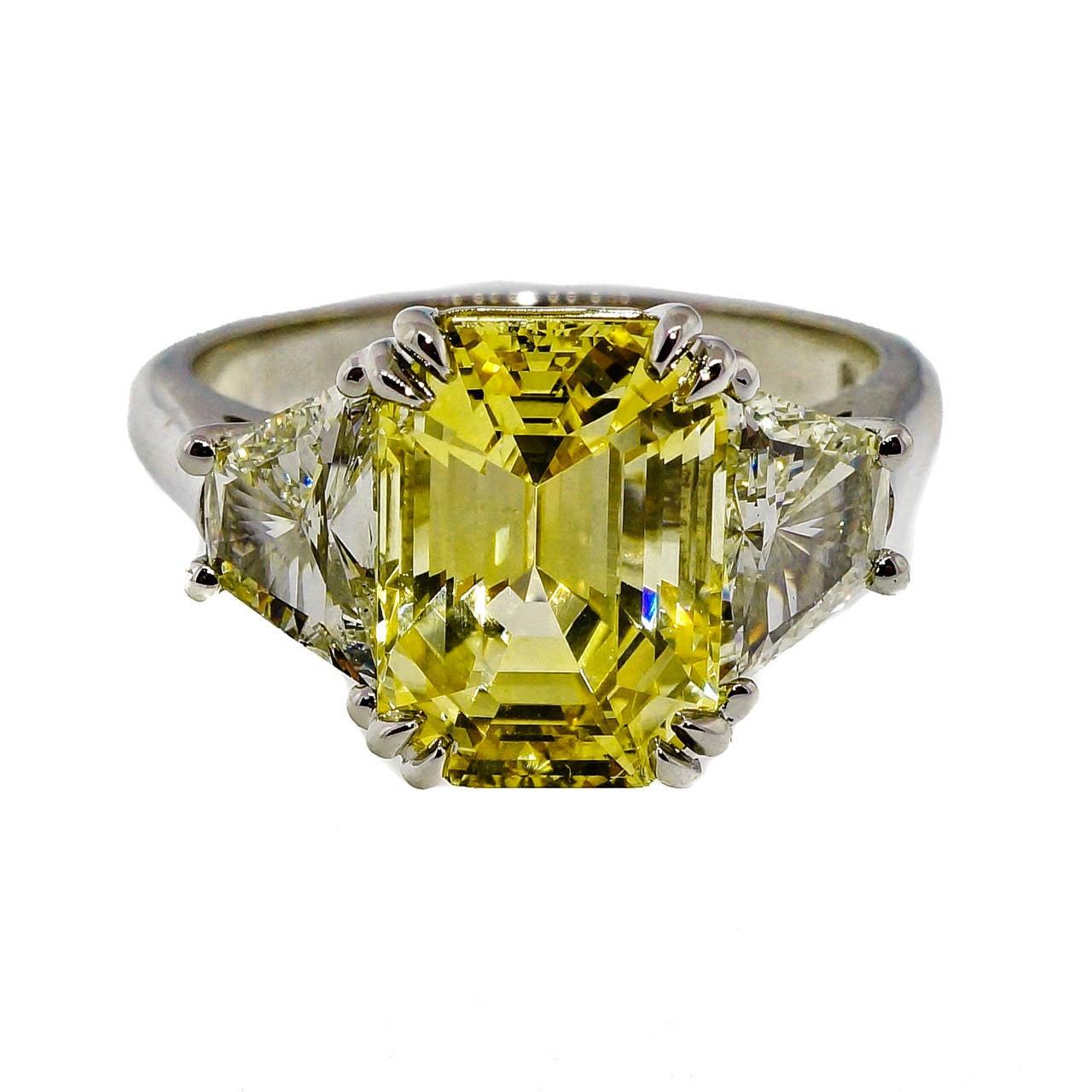 emerald cut yellow sapphire trapezoid ring at 1stdibs