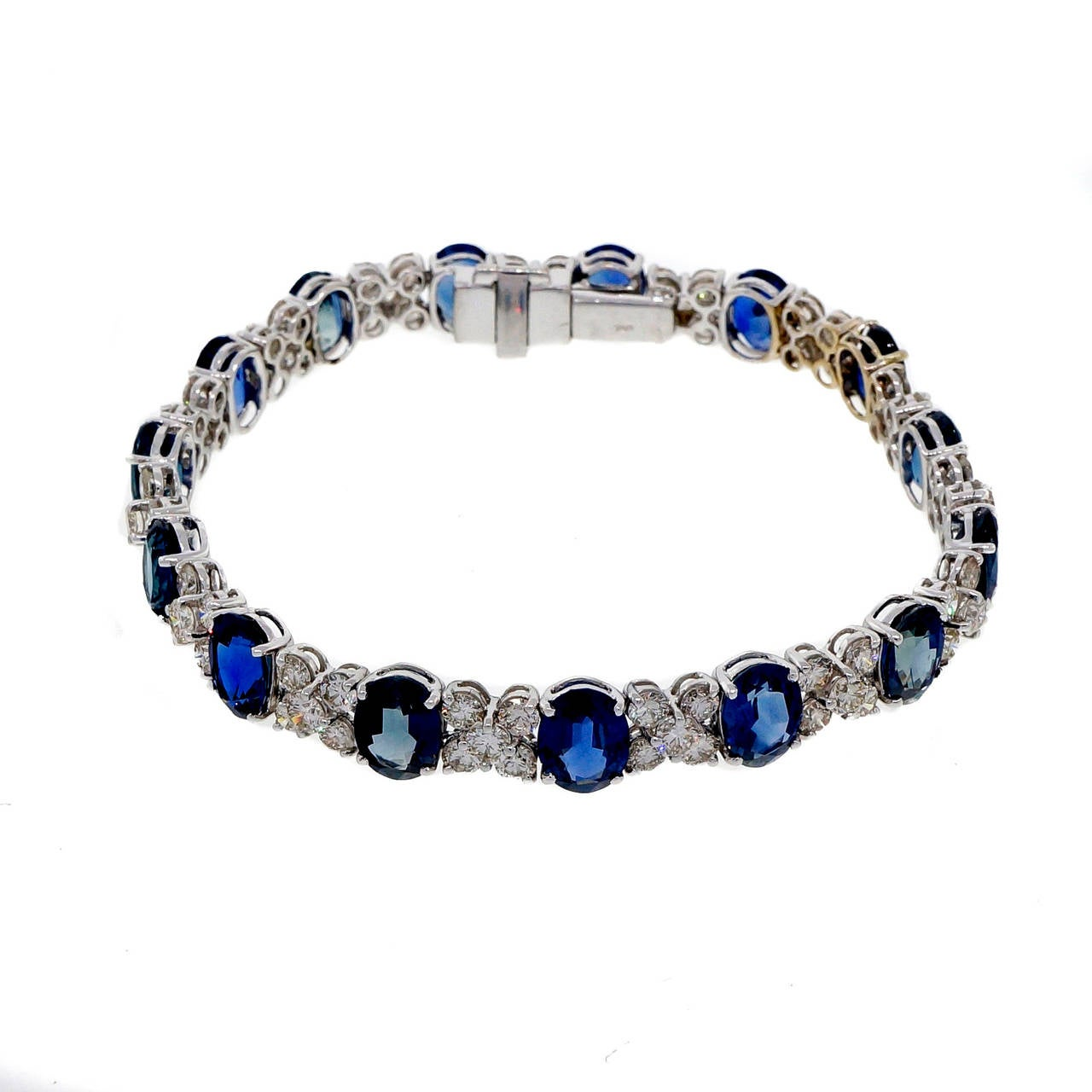 gold diamond blue sapphire i and white bracelet tradesy