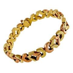 Retro Art Deco Gold Hinged Link Bracelet