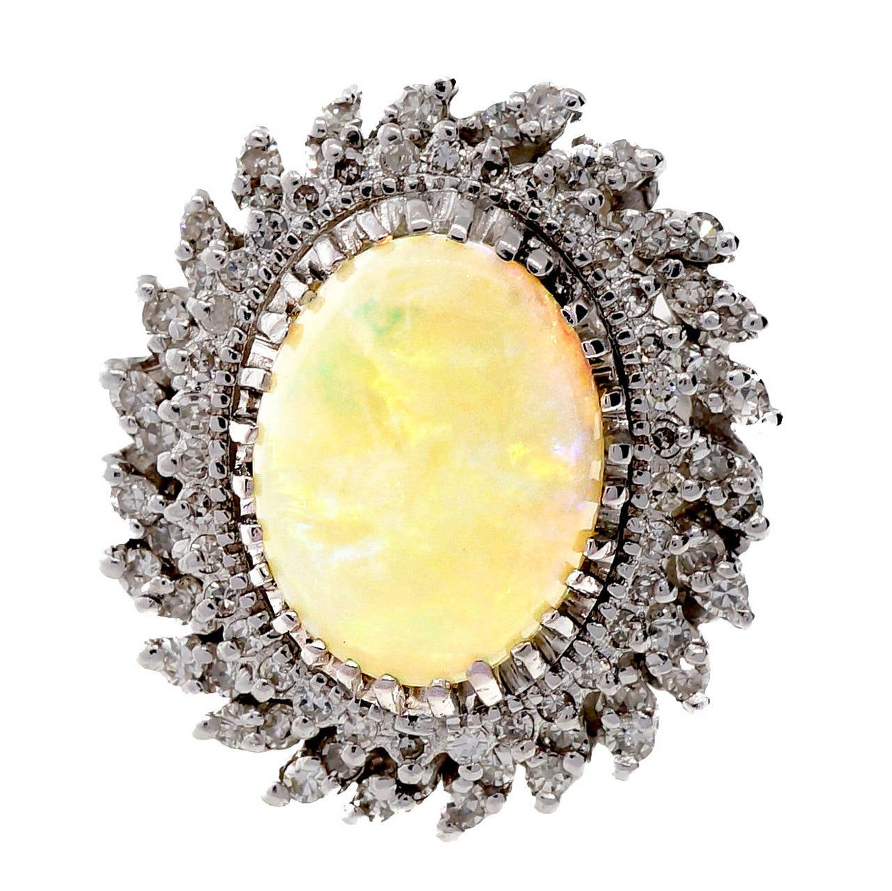 Mid Century Opal Diamond White Gold Ring 1