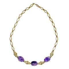 Retro Art Deco Amethyst White Gold Necklace