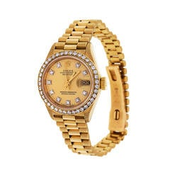 Rolex Lady's Yellow Gold and Diamond Datejust Wristwatch Ref 69138