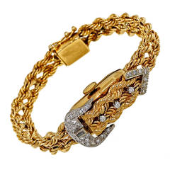 Lady's Diamond Buckle Yellow Gold Covered Wristwatch