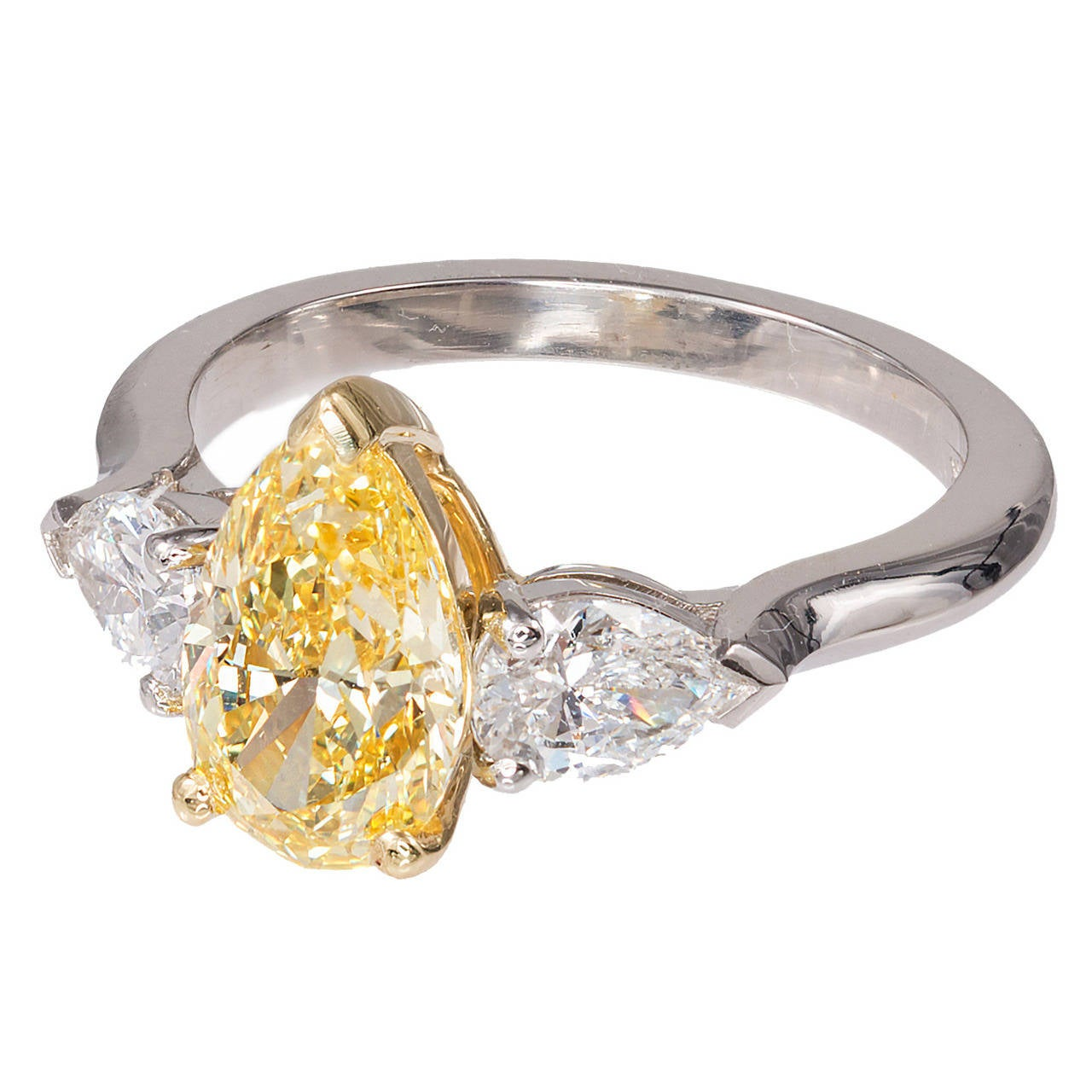 Peter Suchy 1 54 Carat Pear Yellow White Diamond Platinum