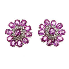 Pink Sapphire Diamond White Gold Cluster Earrings