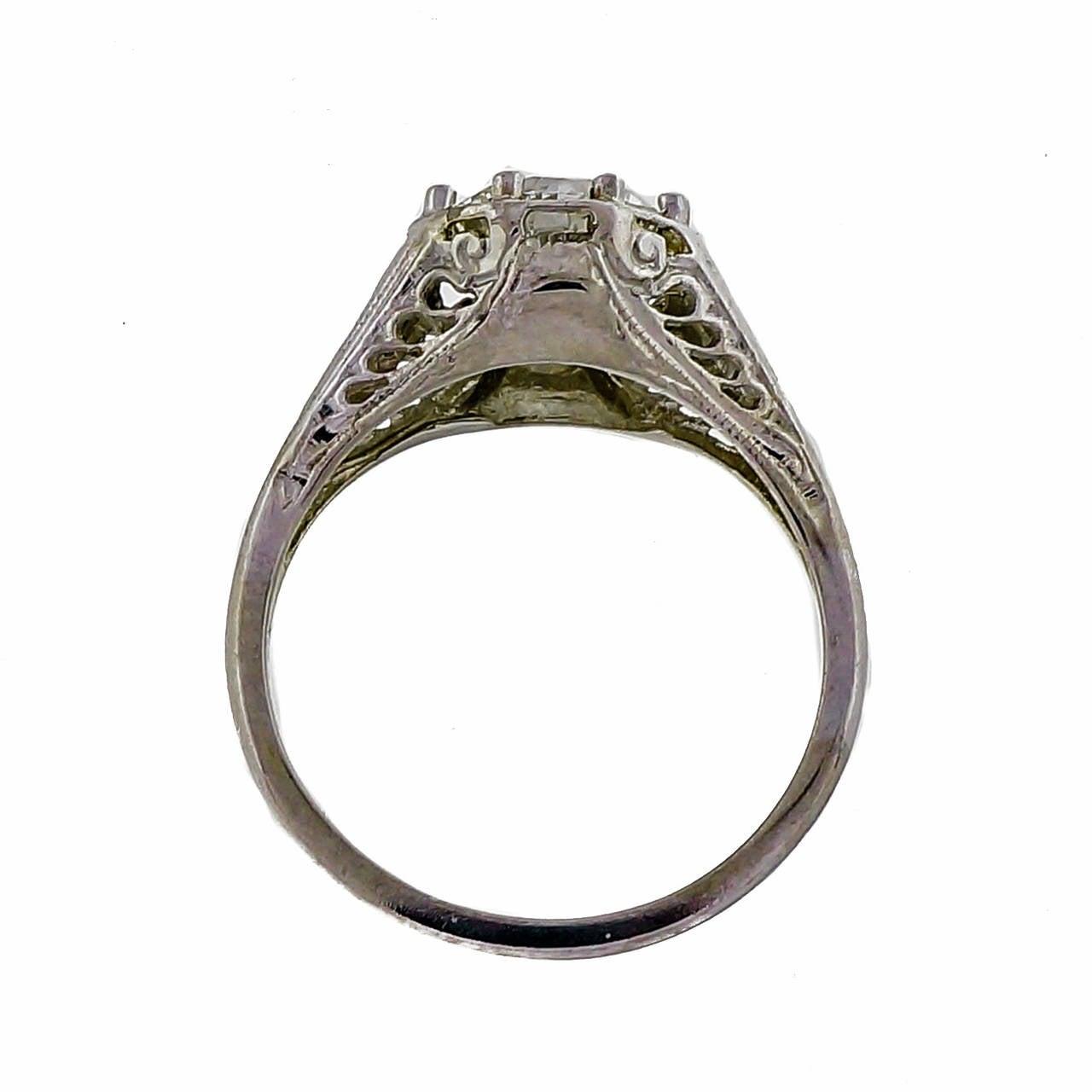 transitional cut filigree white gold ring at 1stdibs