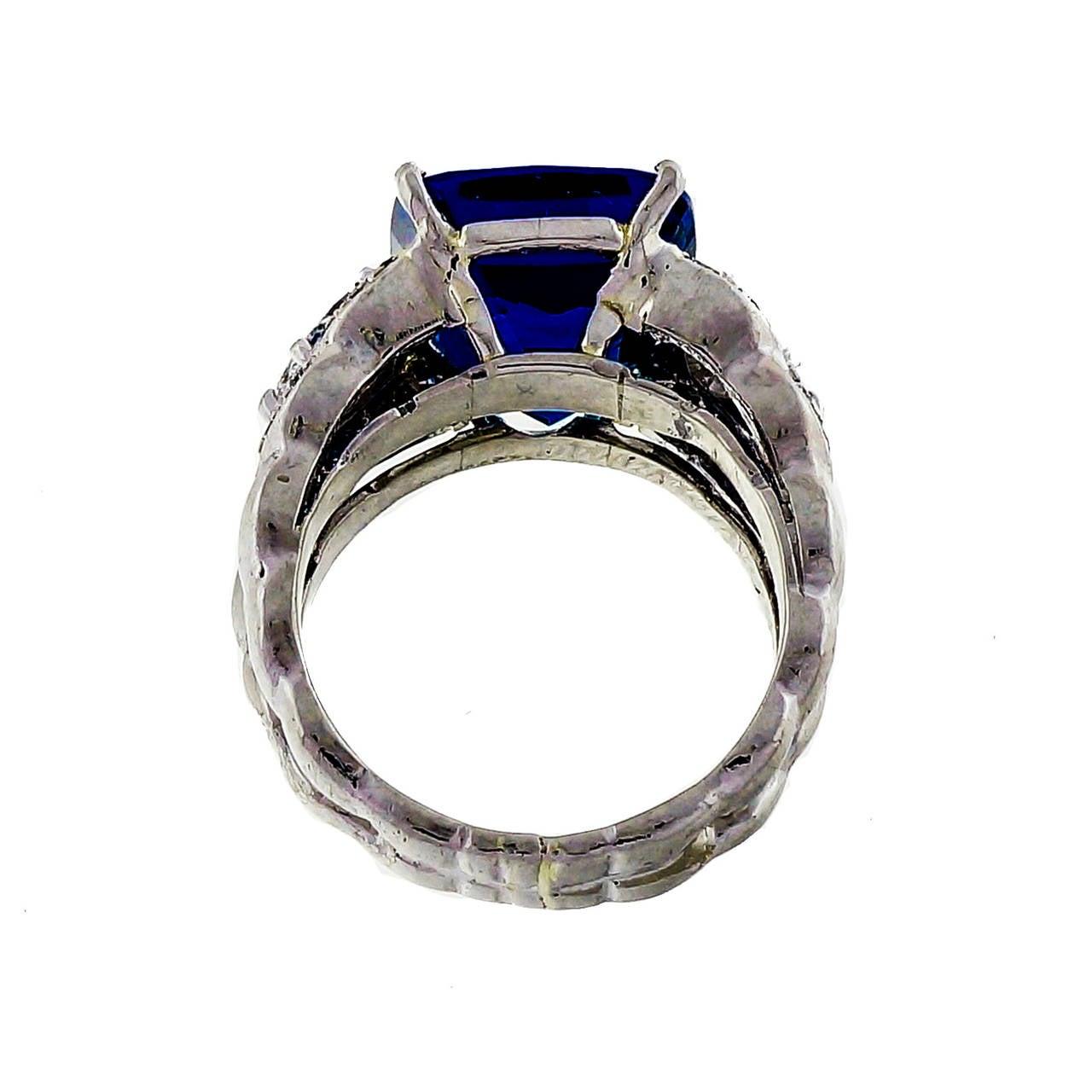 bright blue tanzanite platinum ring at 1stdibs