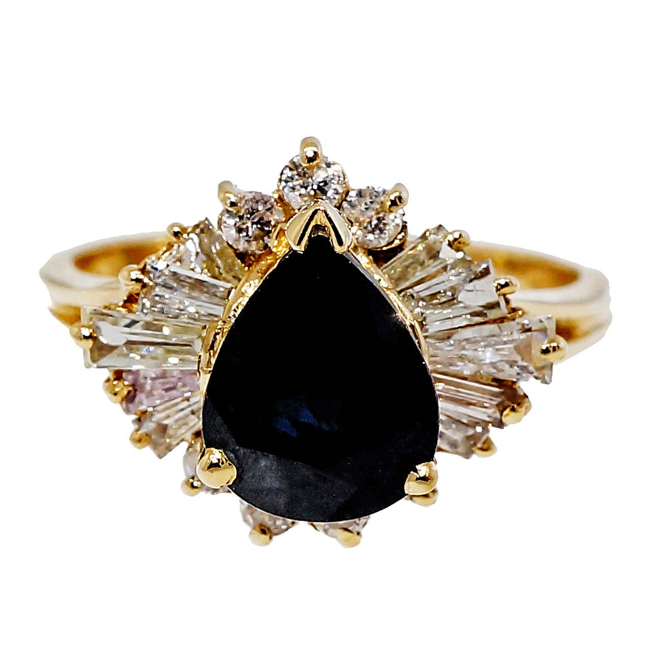 Sapphire Round Baguette Diamond Yellow Gold Ring
