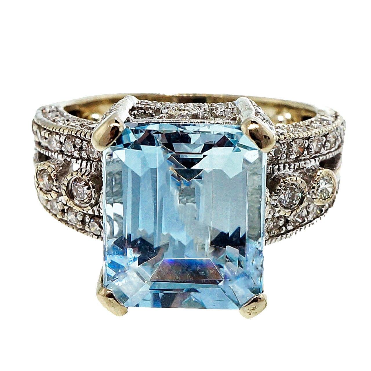 LeVian Aquamarine Diamond White Gold Ring at 1stdibs