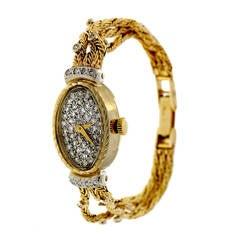 Lady's Yellow Gold and Diamond Wristwatch circa 1980s