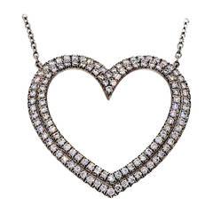 Tiffany & Co. Diamond Platinum Heart Pendant Necklace