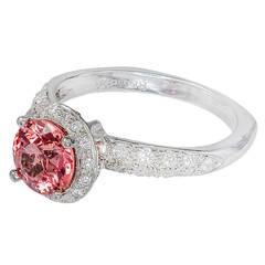 Krementz Pink Sapphire Diamond Gold Ring