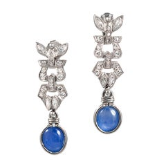 4.75 Carat Cabochon Sapphire Diamond Art Deco Platinum Dangle Earrings