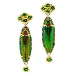 Luna Felix Green Scarab Tourmaline Yellow Gold Granulated Earrings