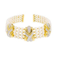 4 Row Pearl Diamond Yellow Gold Collar Necklace