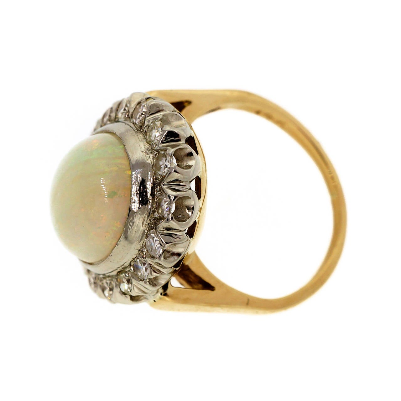oval opal and yellow white gold ring at 1stdibs