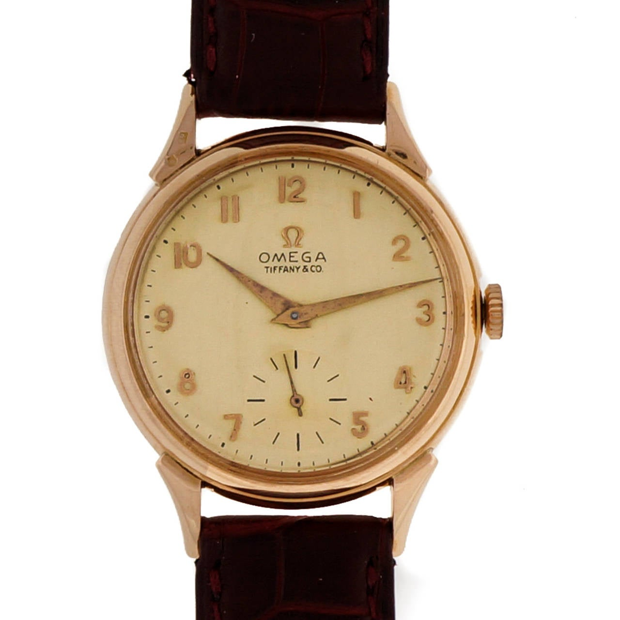 Omega Tiffany & Co. Rose Gold Wristwatch  In Good Condition For Sale In Stamford, CT