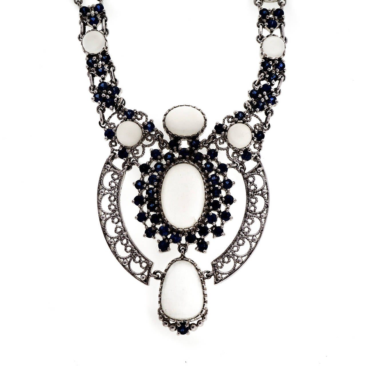 Moonstone sapphire white gold necklace for sale at 1stdibs for Cat s eye moonstone jewelry