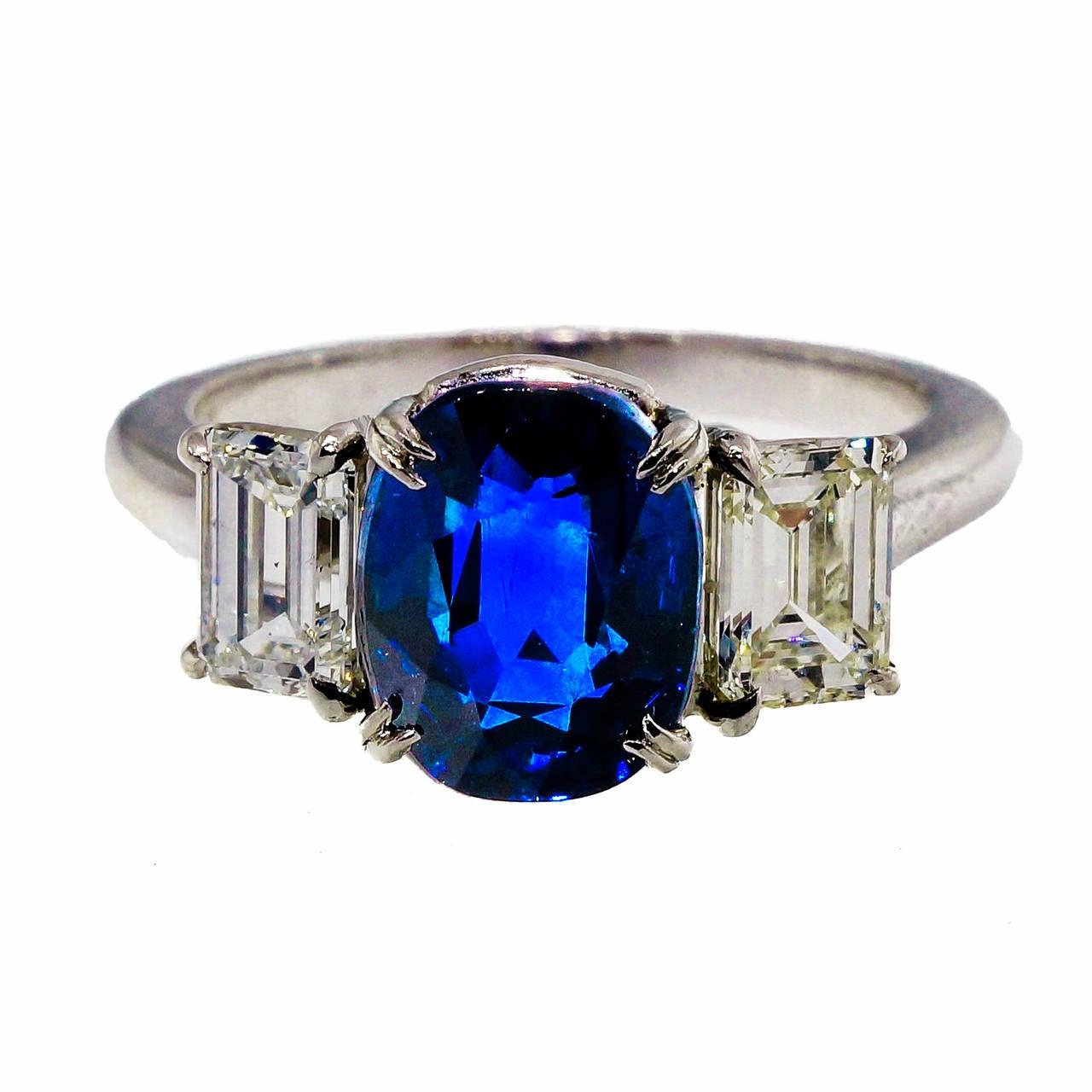 Peter Suchy Cushion Cut Natural Sapphire Diamond Platinum
