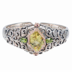 Bellari Green Quartz Peridot Diamond Silver Pink Gold Bangle Bracelet