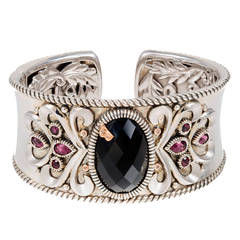 Bellari Onyx Garnet Diamond Silver Pink Gold Bangle Bracelet