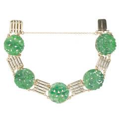 Art Deco Carved Natural Jadeite Jade Gold Bracelet