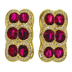 Spark Red Ruby Diamond Yellow Gold Earrings