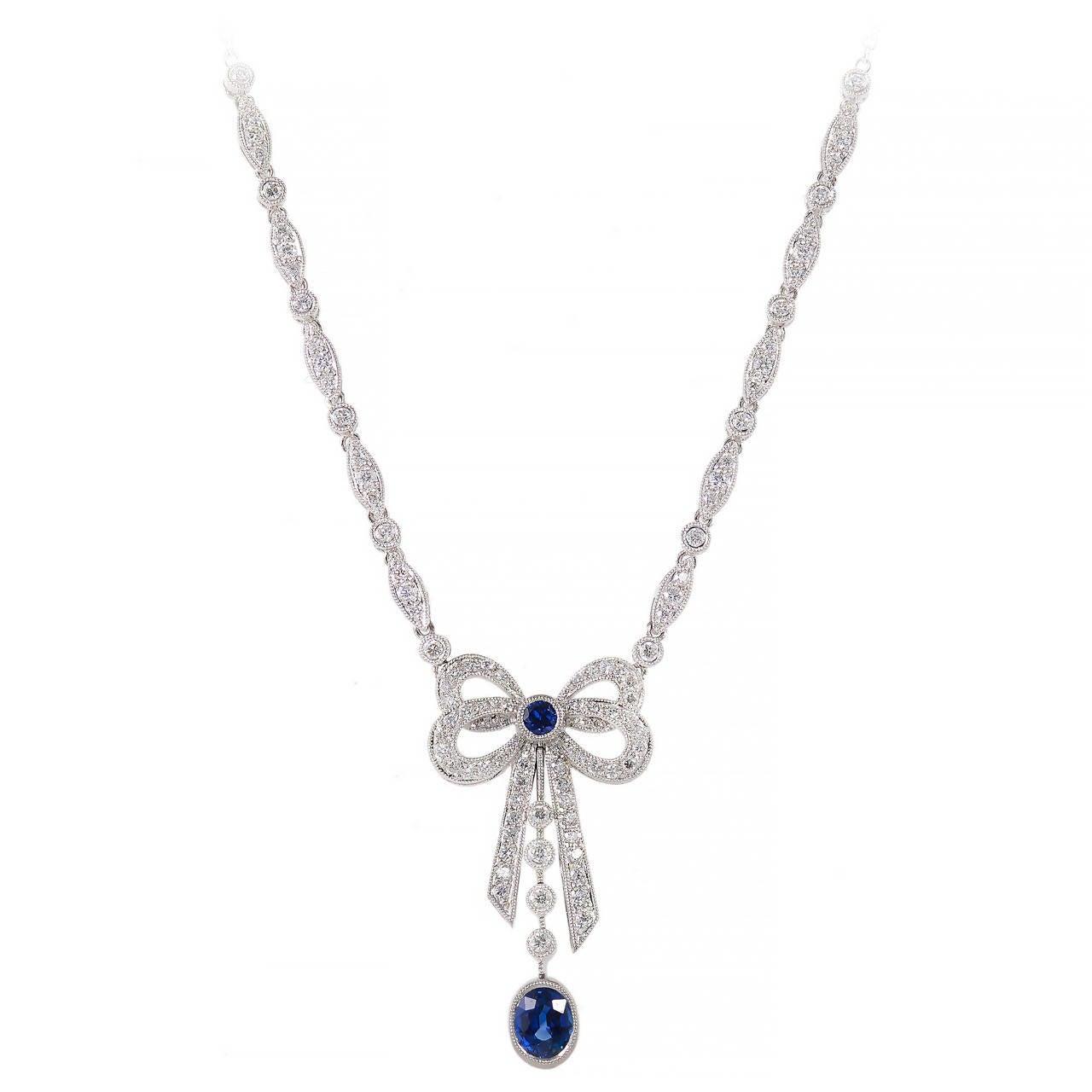 Oval sapphire pave round diamond platinum bow pendant for sale at oval sapphire pave round diamond platinum bow pendant 1 mozeypictures Image collections