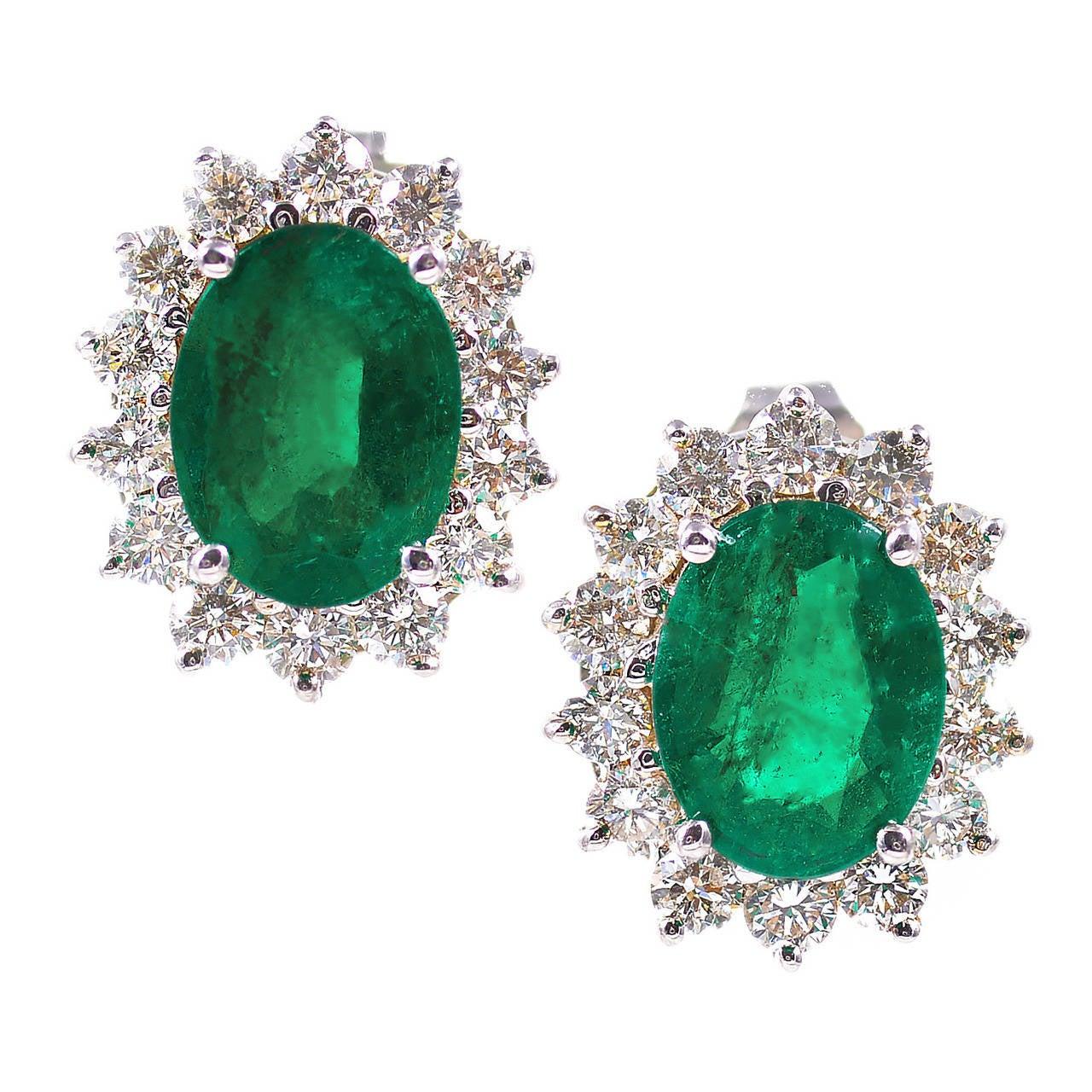 Oval Green Emerald Diamond Yellow Gold Earrings At 1stdibs