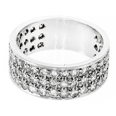 Round Diamond Three Row Pave Diamond Platinum Ring