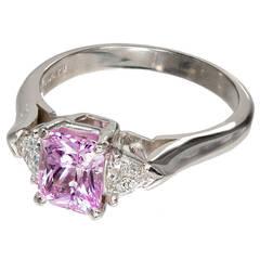 Natural Untreated Pink Sapphire Diamond Platinum Engagement Ring