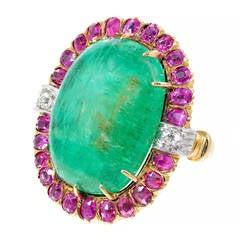 Natural No Heat Emerald Rose Natural Sapphire Gold Ring