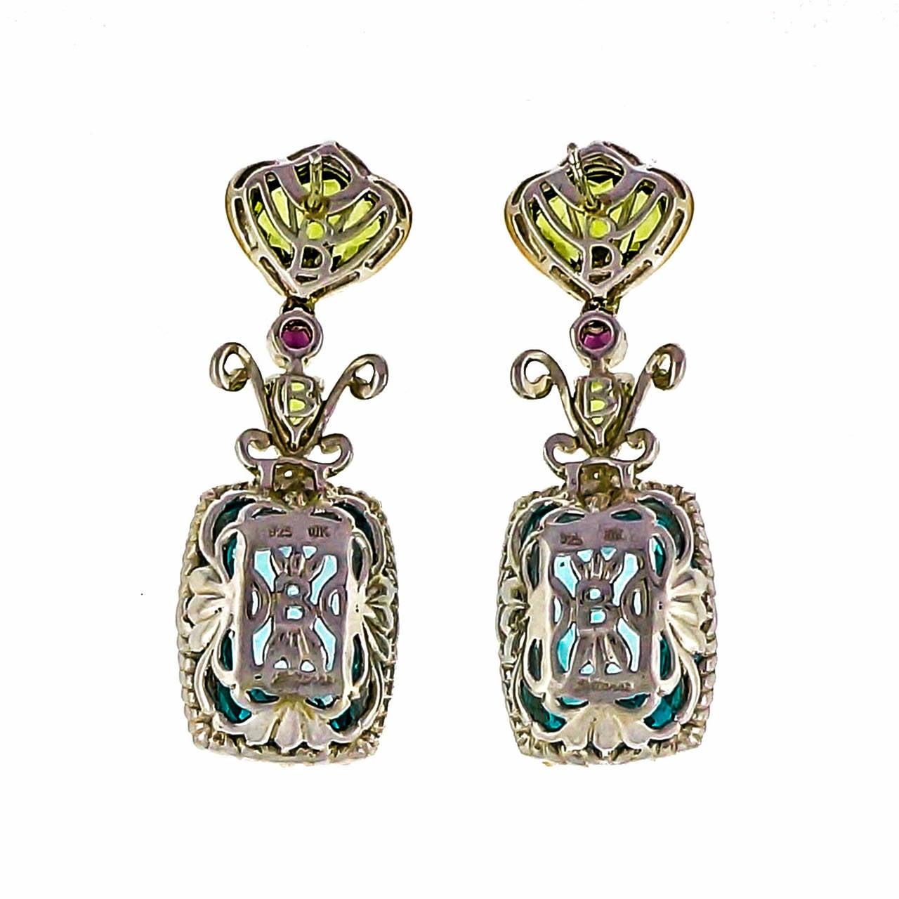 Bellarri Peridot Topaz DIamond Silver Pink Gold Dangle Earrings 2