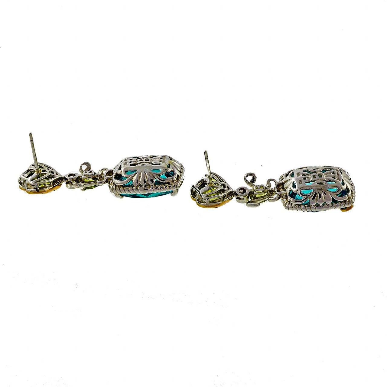 Bellarri Peridot Topaz DIamond Silver Pink Gold Dangle Earrings 3