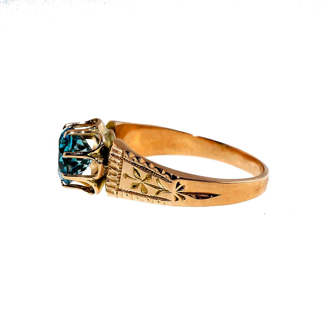 aquamarine pink gold antique ring for sale at