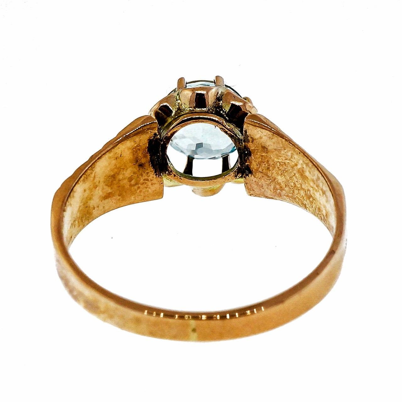 Victorian Aquamarine Pink Gold Antique Ring 4