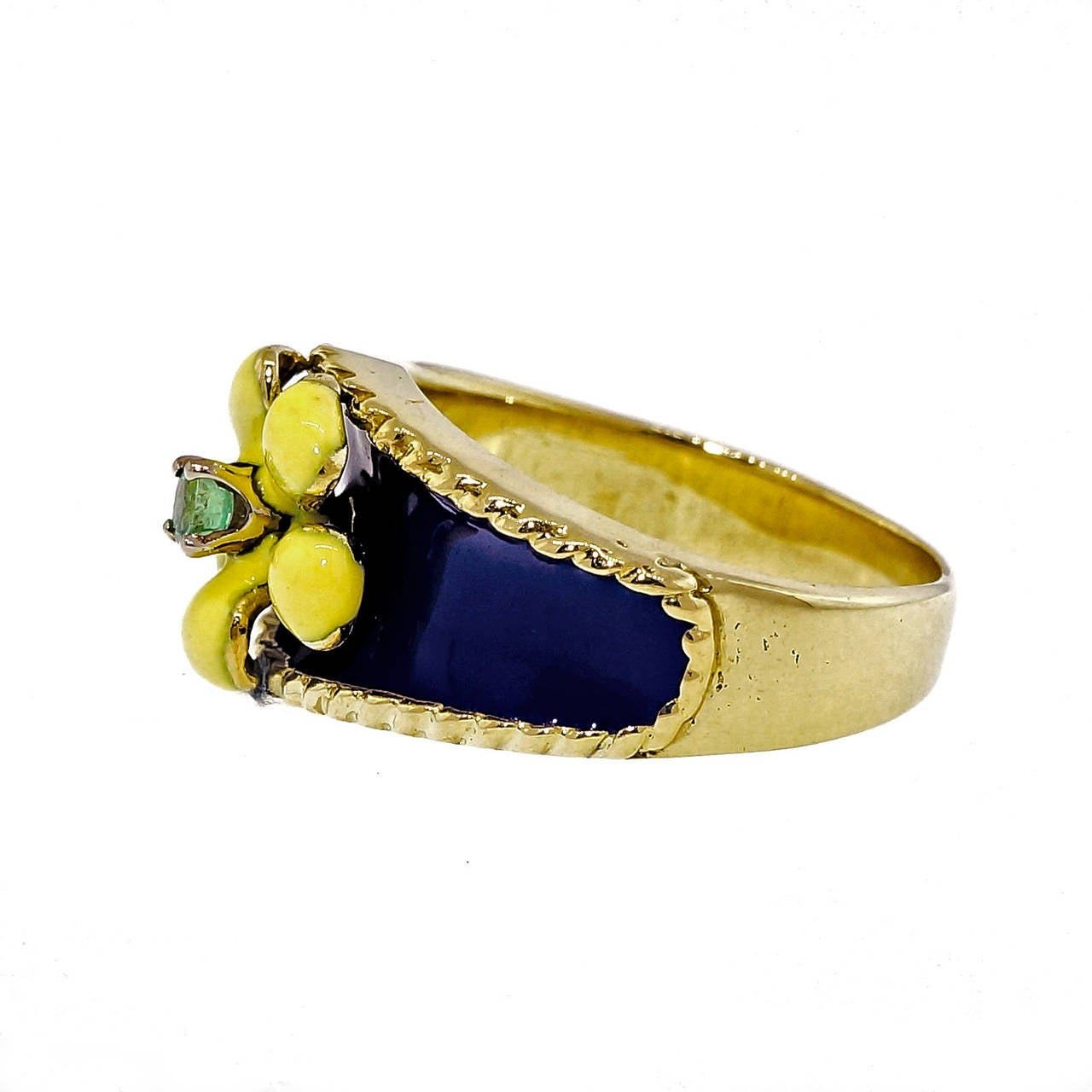 Wonderful 1950 18k yellow gold bright yellow and bright blue enamel ring with a bright green Emerald center. No enamel damage.