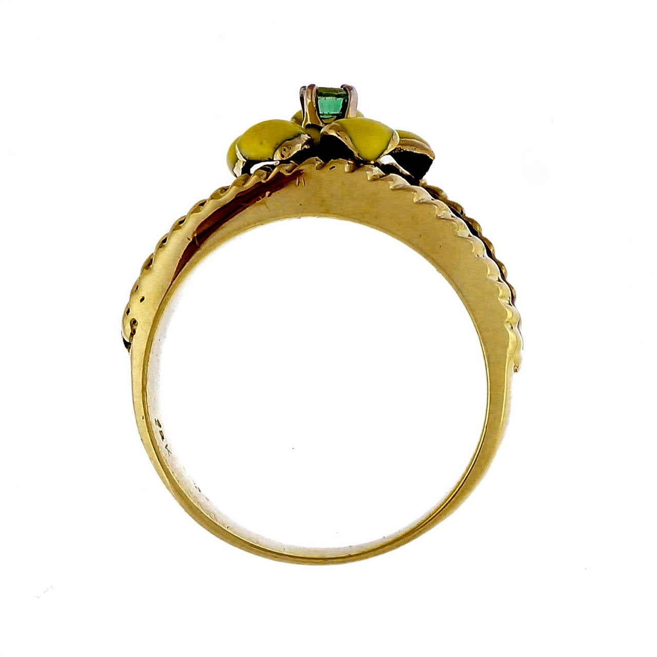 Women's Emerald Yellow Gold Enamel Flower Ring For Sale