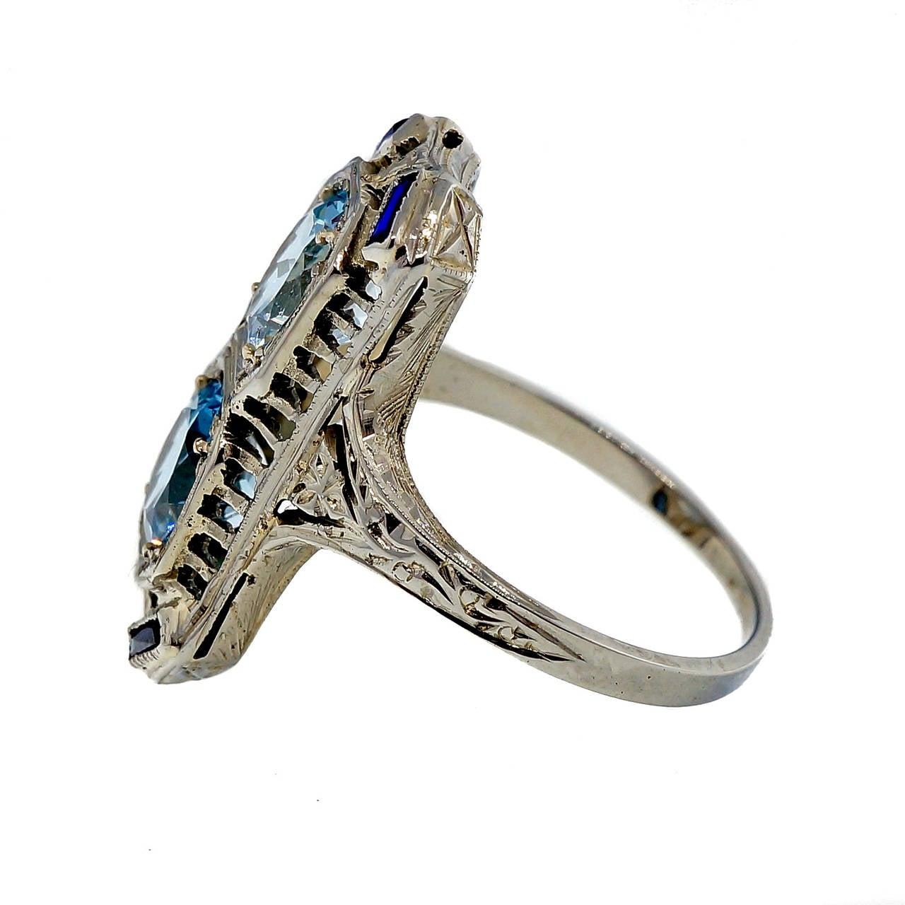 Art Deco Aquamarine Sapphire White Gold Filigree Ring 2
