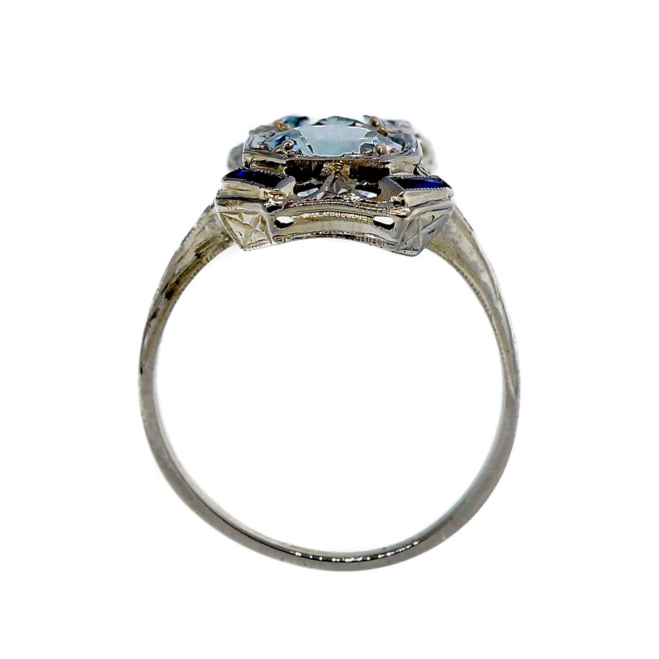 Art Deco Aquamarine Sapphire White Gold Filigree Ring 3