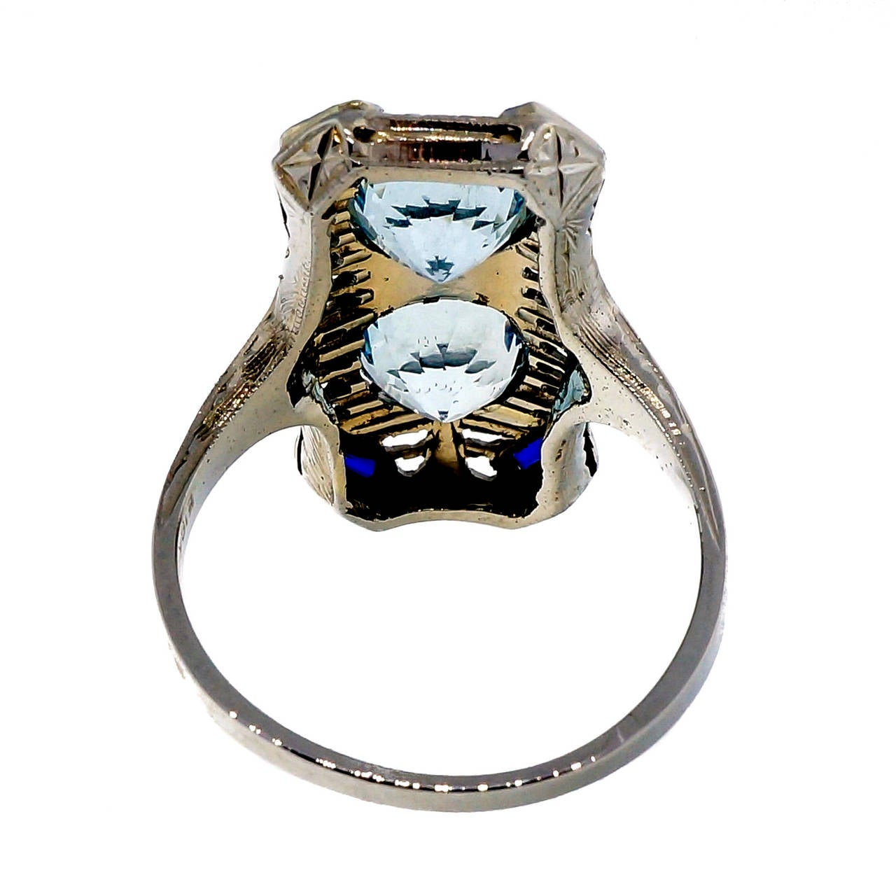 Art Deco Aquamarine Sapphire White Gold Filigree Ring 4
