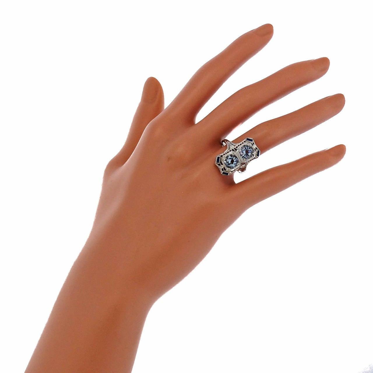 Art Deco Aquamarine Sapphire White Gold Filigree Ring 6