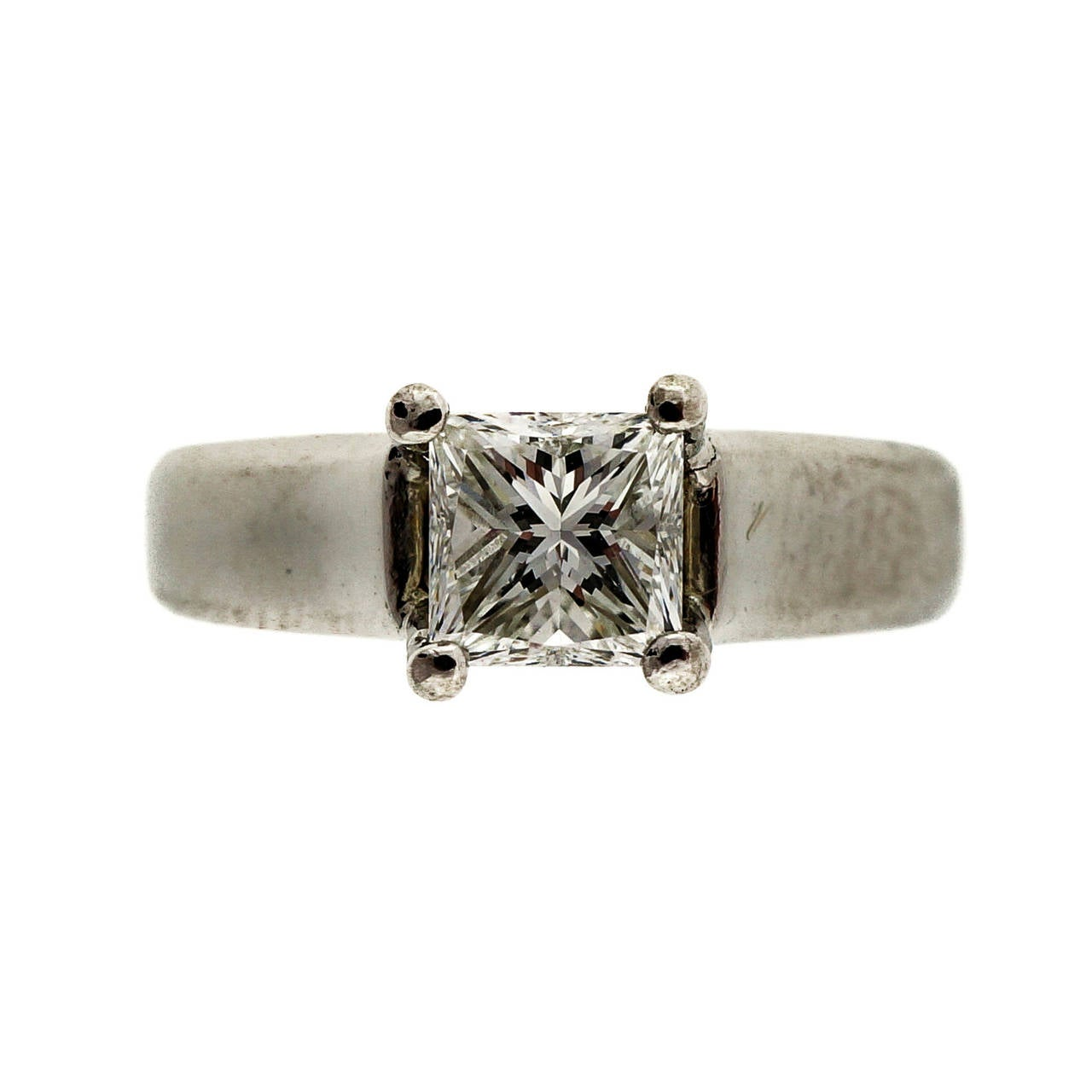 Scott Kay Princess Cut Diamond Platinum Engagement Ring For Sale at 1stdibs