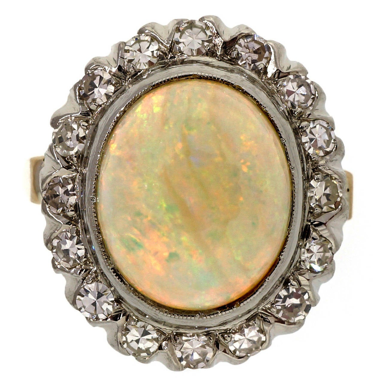 Oval Opal Diamond and Yellow White Gold Ring