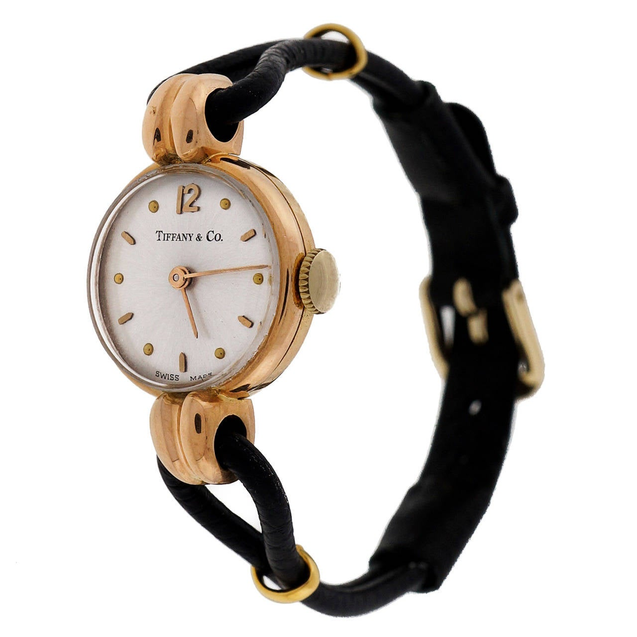Universal Lady's Rose Gold Wristwatch Retailed by Tiffany & Co circa 1940s