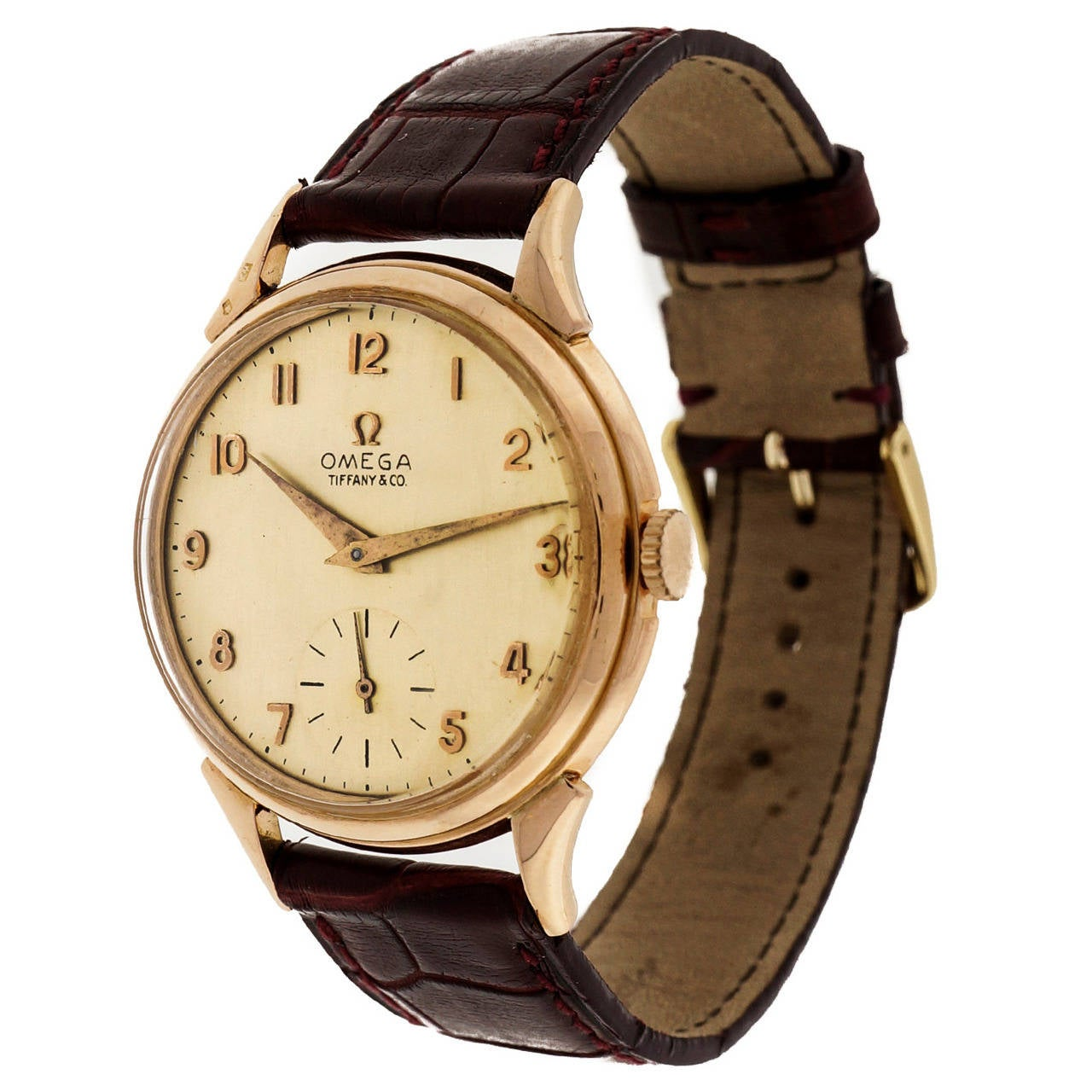 Omega Tiffany & Co. Rose Gold Wristwatch  For Sale