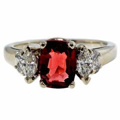 Dana Natural Orange Red Spinel Diamond Gold Ring