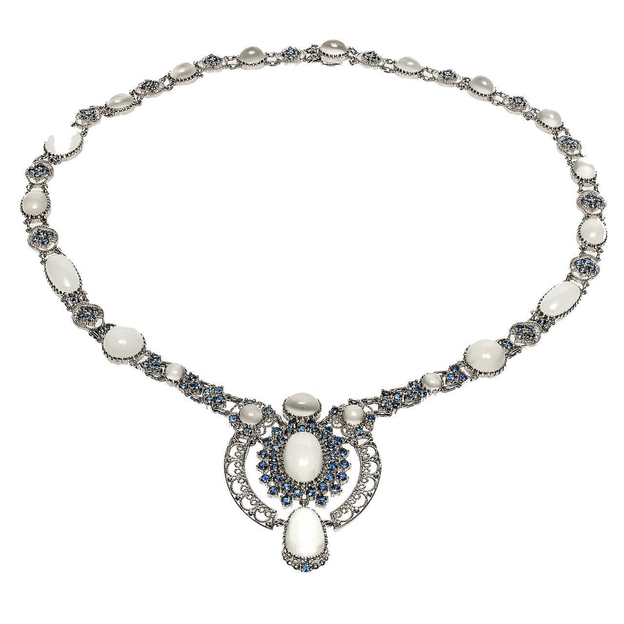 Moonstone Sapphire White Gold Necklace